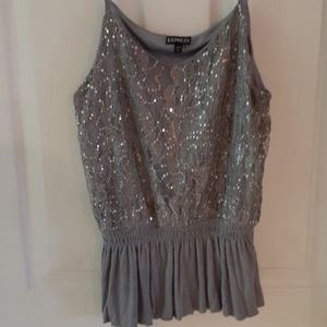 Womens silver lace tank top